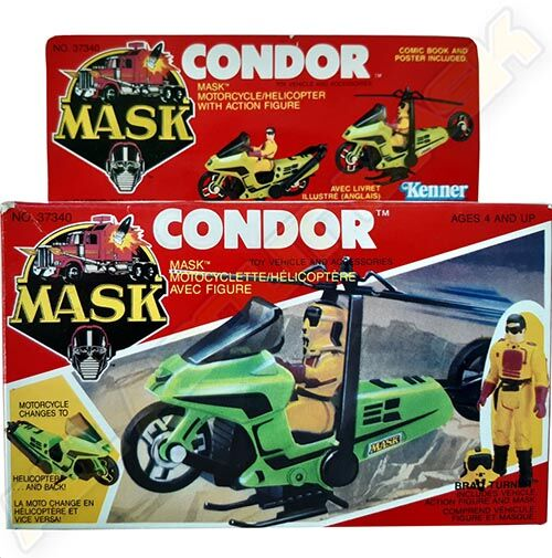 Kenner M.A.S.K. Condor Canadian box. The box is the US box of the 1st wave, with additional French texts.