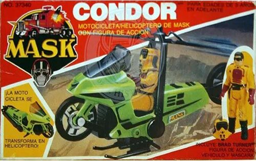 Kenner M.A.S.K. Condor Auriken Mexican box, licensed product. Same box as the US box but with spanish texts.