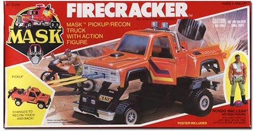 """Kenner M.A.S.K. Firecracker US box first wave. Incl. the short masks, booklet and poster. For more details have a look to """"Differences US boxes first toyline"""""""