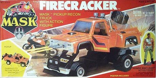 """Kenner M.A.S.K. Firecracker US box second wave. Incl. the long masks and poster. For more details have a look to """"Differences US boxes first toyline"""""""