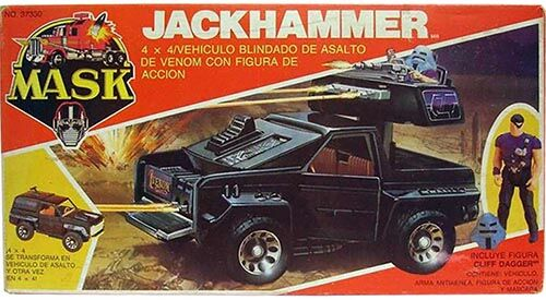 Kenner M.A.S.K. Jackhammer PlayFul Argentine box, licensed product. Same box as the US box but with spanish texts.