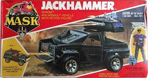 """Kenner M.A.S.K. Jackhammer US box first wave. Incl. the short mask, booklet and poster. For more details have a look to """"Differences US boxes first toyline"""""""