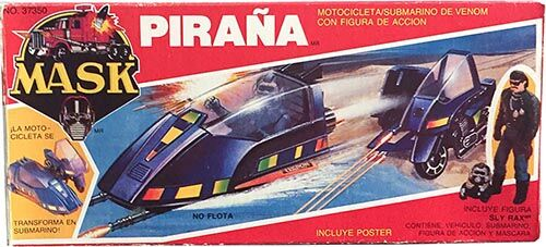 Kenner M.A.S.K. Piranha PlayFul Argentine box, licensed product. Same box as the US box but with spanish texts.
