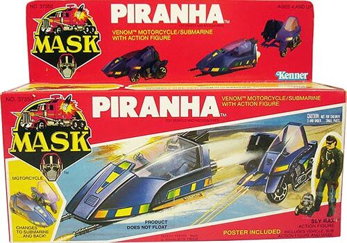 """Kenner M.A.S.K. Piranha US box first wave. Incl. the short mask, booklet and poster. For more details have a look to """"Differences US boxes first toyline"""""""