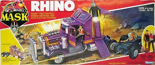 """Kenner M.A.S.K. Rhino US box second wave. Incl. the long masks and poster. For more details have a look to """"Differences US boxes first toyline"""""""