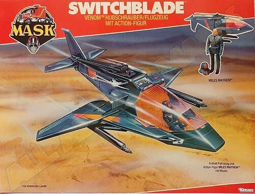 Kenner M.A.S.K. Switchblade EU box second wave. Logo without missile launching.
