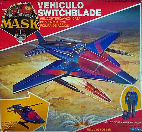 Kenner M.A.S.K. Switchblade Auriken Mexican box, licensed product. Same box as the US box but with spanish texts.