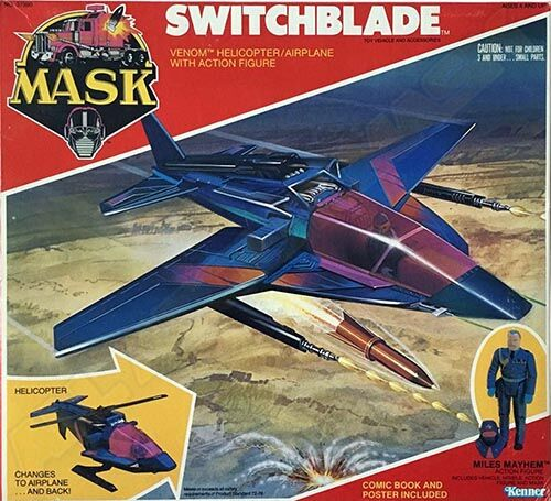 """Kenner M.A.S.K. Switchblade US box first wave. Incl. the short mask, booklet and poster. For more details have a look to """"Differences US boxes first toyline"""""""
