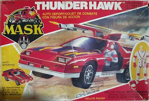 Kenner M.A.S.K. Thunderhawk Auriken Mexican box, licensed product. Same box as the US box but with spanish texts.