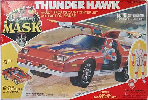 "Kenner M.A.S.K. Thunderhawk US box first wave. Incl. the short mask, booklet and poster. For more details have a look to ""Differences US boxes first toyline"""