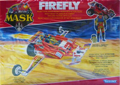 Kenner M.A.S.K. Firefly EU box, Logo with missile launching.