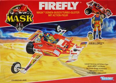 Kenner M.A.S.K. Firefly German box. Logo without missile launching.