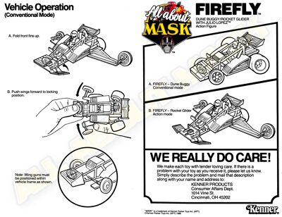 Kenner M.A.S.K. Firefly Instruction US front/back