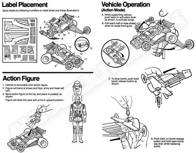 Kenner M.A.S.K. Firefly Instruction US middle