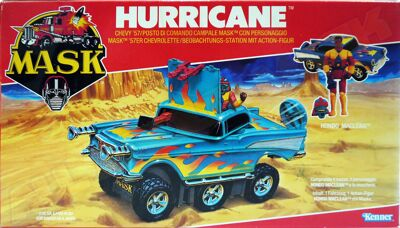 Kenner M.A.S.K. Hurricane EU box, Logo with missile launching.