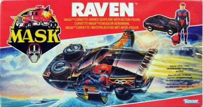 Kenner M.A.S.K. Raven EU box, Logo with missile launching.