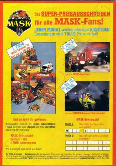 M.A.S.K. Sweepstake Germany 1987