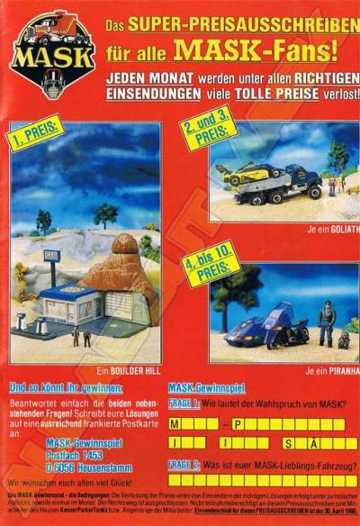 M.A.S.K. Sweepstake Germany 1989